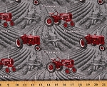 Cotton Tractors McCormick Farmall International Harvesters Farming Farmall Fields Allover Gray Cotton Fabric Print by the Yard (10295-Gray)