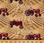 Cotton Tractors McCormick Farmall International Harvesters Farming Farmall Fields Allover Wheat Gold Cotton Fabric Print by the Yard (10295-WHEAT)