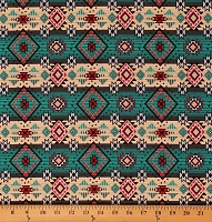 Cotton Southwestern Stripes Aztec Geometric Southwest Patterned Native Diamonds Blue Red Gray Cotton Fabric Print by the Yard (DX-1211-9C)