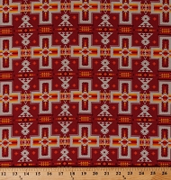 Cotton Southwestern Stripes Designs Crosses Native American Aztec Southwest Red Yellow Striped Tucson 468 Cotton Fabric Print by the Yard (468TERRACOTTA)