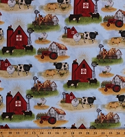 Cotton Farmer Tractors Sheep Cows Barn Horses Pigs Animals On The Farm Landscape Blue Cotton Fabric Print by the Yard (16565-BLU-CTN-D)