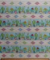 Cotton Cactus Cacti Hummingbirds Southwestern Floral Pretty Potted House Plants Succulents Humming Along (9 Parallel Stripes) Cotton Fabric Print by the Yard (1665-33829-427)