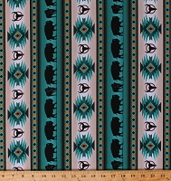 Cotton Southwestern Native American Aztec Buffalo Bison Wildlife Tucson 485 Turquoise Stripes Striped Cotton Fabric Print by the Yard (485TURQUOISE)