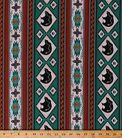 Cotton Southwestern Native American Aztec Bears Paw Prints Wildlife Tucson 516 Turquoise Stripes Striped Cotton Fabric Print by the Yard (516TURQUOISE)