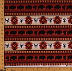 Cotton Southwest Tuscon Terracotta Buffalo Bison Southwestern Out West Stripe Cotton Fabric Print by the Yard (485Terracotta)