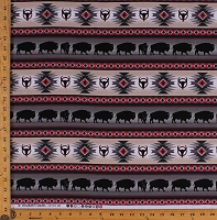 Cotton Southwest Tuscon Gray Buffalo Bison Southwestern Out West Stripe Cotton Fabric Print by the Yard (485GRAY)