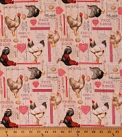 Cotton Chickens Roosters Poultry Exhibition Eggs Vintage Farm Farming Country Kitchen Early Bird Cream Cotton Fabric Print by the Yard (51397-1)