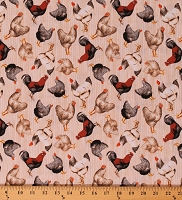 Cotton Chickens Roosters Allover on Cream Farm Barnyard Poultry Country Early Bird Cotton Fabric Print by the Yard (51398-1)