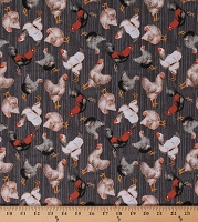 Cotton Chickens Roosters Allover on Gray Farm Barnyard Poultry Country Early Bird Cotton Fabric Print by the Yard (51398-3)