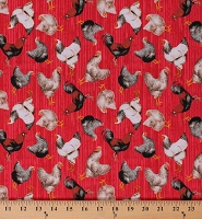 Cotton Chickens Roosters Allover on Red Farm Barnyard Poultry Country Early Bird Cotton Fabric Print by the Yard (51398-4)