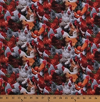 Cotton Chickens Roosters Birds Poultry Farm Animals Cotton Fabric Print by the Yard (601MULTI)
