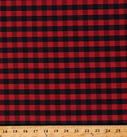 Cotton Buffalo Plaid 1/2 Inch Red Black Checkered Striped Cotton Fabric Print by the Yard (112256)