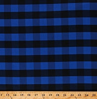 Cotton Buffalo Plaid 1 Inch Blue Black Checkered Striped Cotton Fabric Print by the Yard (112250)