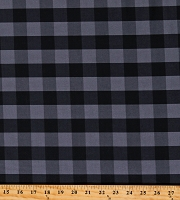 Cotton Buffalo Plaid 1 Inch Gray Black Checkered Striped Cotton Fabric Print by the Yard (112253)