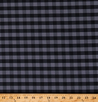 Cotton Buffalo Plaid 1/2 Inch Gray Black Checkered Striped Cotton Fabric Print by the Yard (112261)