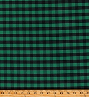 Cotton Buffalo Plaid 1/2 Inch Green Black Checkered Striped Cotton Fabric Print by the Yard (112260)