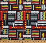 Cotton Aztec Pattern Bright Multi-Color Tribal Print on Black Southwestern Cotton Fabric Print by the Yard (49202-multibright)