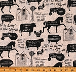 Cotton Farm Animals Silhouettes Life is Better on The Farm Words Cream Cotton Fabric Print by the Yard (16560-CRM-CTN-D)