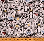 Cotton Farm Animals Goofy Llamas Dogs Deer Pigs Heads Allover Cotton Fabric Print by the Yard (16480-MLT-CTN-D)