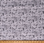 Cotton Wild West Ranch Newspaper Article Desert Cowboy Gray Cotton Fabric Print by the Yard (52457D-9)