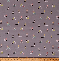 Cotton Yoga Exercising Exercise Good Postures Sports Gray Cotton Fabric Print by the Yard (CX7531-SPAX-D)