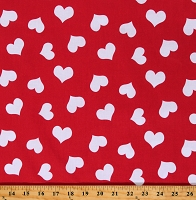 Cotton Hearts Valentines Day Affection Love Red Cotton Fabric Print by the Yard (96332)