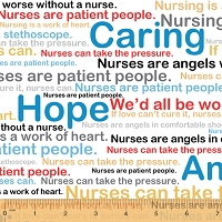 Cotton Nurses Medical Words Phrases Nursing Hospital Caregivers Cotton Fabric Print by the Yard (799-2)