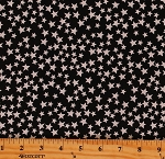 Cotton Stars Starry Sky Allover on Black Glow-In-The-Dark Cotton Fabric Print by the Yard (8916GL 12)