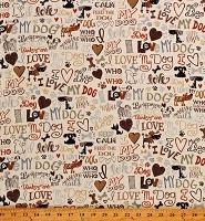 Cotton I Love My Dog Pets Hearts Bones Paw Prints Cream Cotton Fabric Print by the Yard (GAIL-C5710)