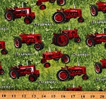 Cotton Tractors Farms Farmall Tossed Cotton Fabric Print by the Yard (10339-15)