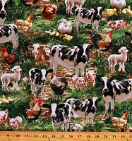 Cotton Animals Cows Pigs Sheep Lambs Chickens Ducks Farms Green Cotton Fabric Print by the Yard (DONA-C8336-MULTI)