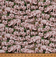 Cotton Animals Pigs Piglets Farm Farmer Green and Pink Cotton Fabric Print by the Yard (DONA-C8338-Multi)