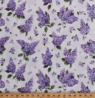Cotton Lilacs Floral Flowers Blooming Spring on White Lilacs in Bloom Cotton Fabric Print by the Yard (05482-09)