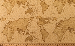 Cotton Map of the World Vintage-Look Countries Continents Maps Geography Travel Passport 3 Sisters Cotton Fabric Print by the Yard (3929-16)