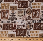 Cotton Coffee Labels Cafe Kitchen Taupe Cotton Fabric Print by the Yard (COFFEE-C7259-TAUPE)