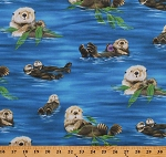 Cotton Sea Otters Playing Cute Animals Ocean Nature Blue Cotton Fabric Print by the Yard (SRKD-6745-268NATURE)