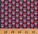 Cotton Voting Hats America Election Red White on Navy Your Vote Counts Cotton Fabric Print by the Yard (01849-55)