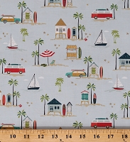 Cotton Beach Vacation Getaway Ocean Summer Palm Trees Blue Offshore 2 Cotton Fabric Print by the Yard (C7980-BLUE)
