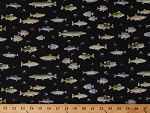 Cotton Fishing Fishes Bait Hook Fisherman Marine Life River Bass Trout Pike Catfish Go Fish Black Keep it Reel Cotton Fabric Print by the Yard (07929-12)