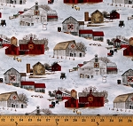 Cotton Houses Barns Homes Winter Snow Headin Home Cotton Fabric Print by the Yard (4708SNOW)