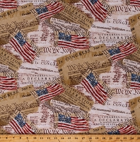 Cotton Declaration of Independence American Flag Freedom Cotton Fabric Print by the Yard (USA-C8320)