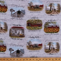 Cotton Country Living Wildflowers Farmhouses Barns Headin' Home Gray Cotton Fabric Print by the Yard (4713RUSTICWHITE)