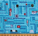 Cotton Emergency First Responders Police Fire Ambulance Rescue Thank You Blue Cotton Fabric Print by the Yard (THANKS-C8420 BLUE)