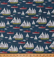 Cotton Sailboats Nautical Ocean Sea Boats Beach Lakeside Story Cotton Fabric Print by the Yard (13352-12)