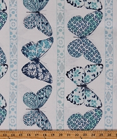Cotton Butterflies Insects Floral Butterfly Row Blue on White Cotton Fabric Print by the Yard (DC7368-MARI-D)
