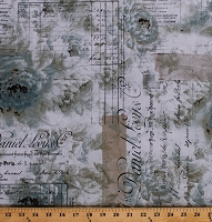 Cotton Paris Parisian Receipts Street Names French Script Calligraphy Roses Flowers Travel Vintage-Look Memoranda II Tim Holtz Cotton Fabric Print by the Yard (PWTH102.AQUA)