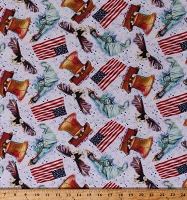 Cotton American Icons Statue of Liberty Eagle Liberty Bell Flag America USA Patriotic Mix Cotton Fabric Print by the Yard (RN-118678)