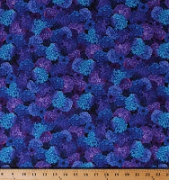 Cotton Hydrangeas Anemone Flowers Flower Floral Spring Garden Misty Blue Purple Landscape Cotton Fabric Print by the Yard (MISTY-CD6897)