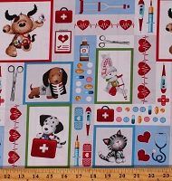 Cotton Nurses Medical Dogs Cats Big Hugs Cotton Fabric Print by the Yard (9321-90)