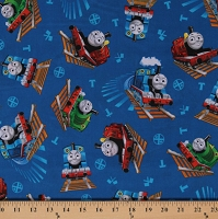 Cotton Thomas & Friends Trains Thomas the Train Engines Percy James Kids Children's Blue Cotton Fabric Print by the Yard (2005-78084-Y) D375.33